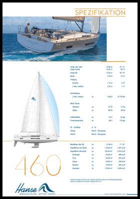 Hanse 460 Standard Spezifikation   Hanse