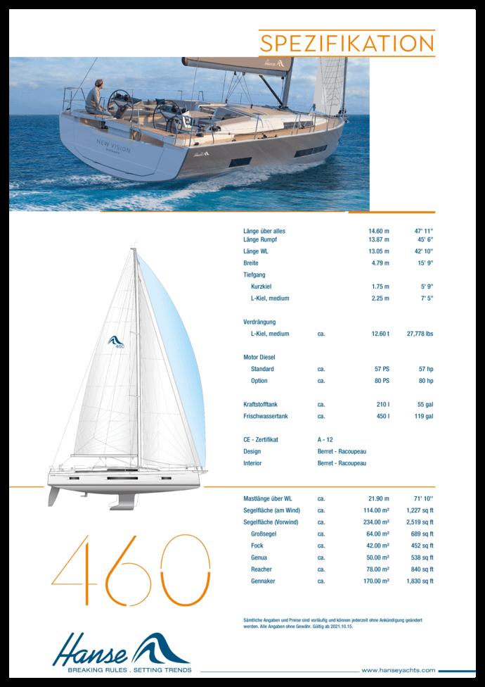 Hanse 460 Standard Spezifikation