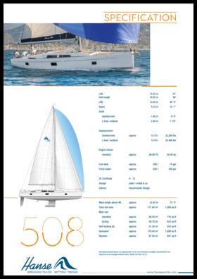 Hanse 508 Standart şartname | Hanse