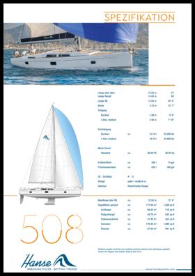 Hanse 508 Standard Spezifikation   Hanse