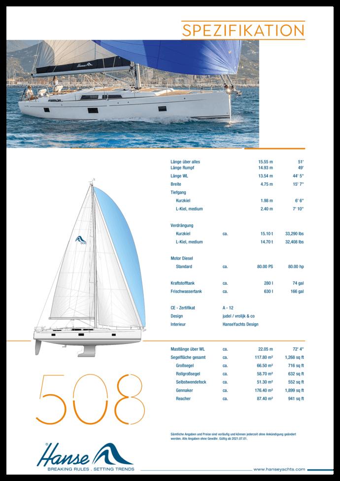 Hanse 508 Standard Spezifikation