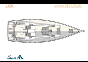 Hanse 508 güverte planı | Teknik güverte planı | Hanse