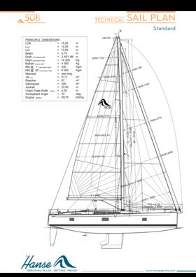 Hanse 508 yelken planı | teknik yelken planı (standart) | Hanse