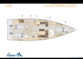 Hanse 548 Disposición interior | A2 / B1 / C1 / D1 / E2 - Opción | Hanse