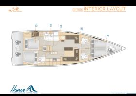 Hanse 548 Disposición interior | A1 / B3 / C1 / D3 / E2 - Opción | Hanse