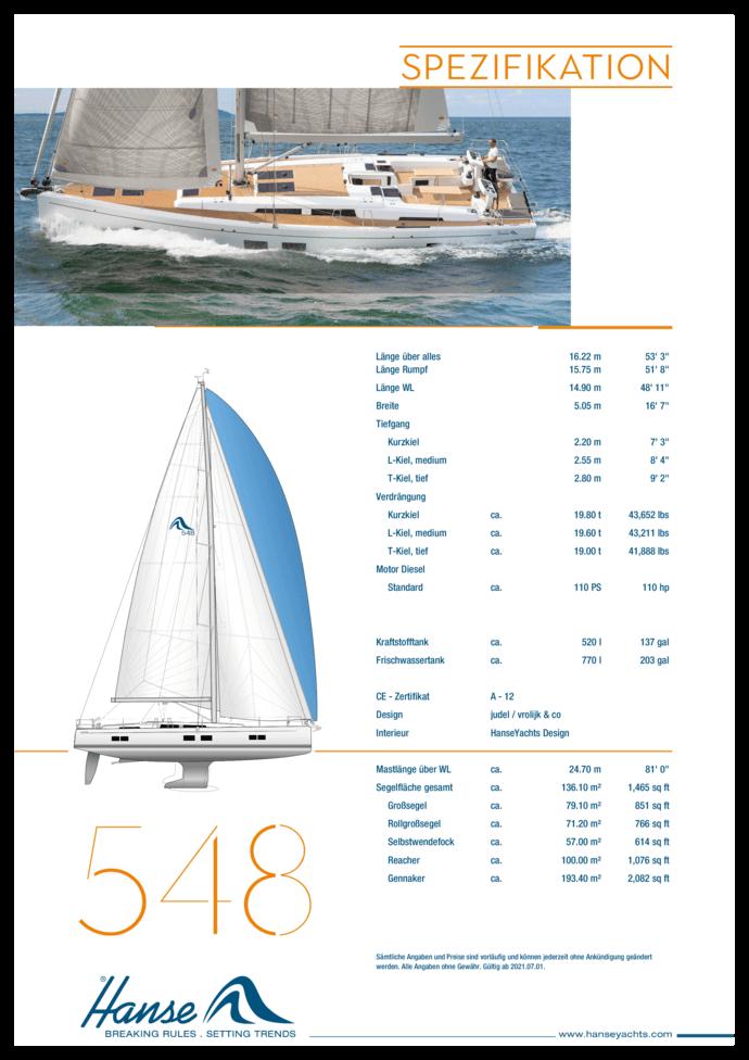 Hanse 548 Standard Spezifikation