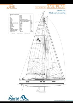 Hanse 548 Technical Sail Plan | Standard Mitboomsheeting | Hanse