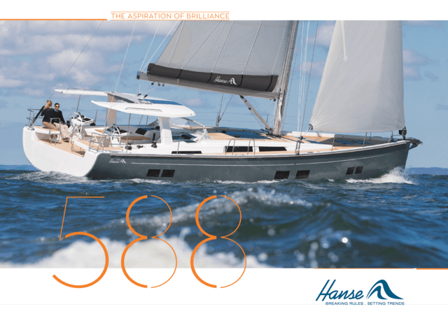 Hanse 588 Brochure | Sophistication and distinctive lines characterise the unique design of Hanse yachts. And the Hanse 588 is no exception. Its flat, elongated build and expressive details combine stylish confidence with sporty elegance. | Hanse
