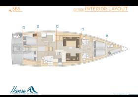 Hanse 588 Disposición interior | A2 / B3 / C2 / D3 / E2 - Opción | Hanse