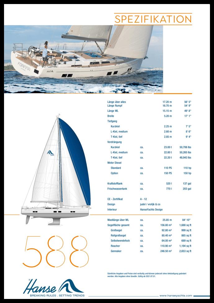 Hanse 588 Standard Spezifikation