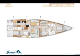 Hanse 675 Interieur Layout | A1 / B2 / C1 / D2 - Option | Hanse