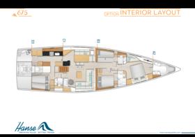Hanse 675 Interieur Layout | A2 / B3 / C1 / D3 - Option | Hanse