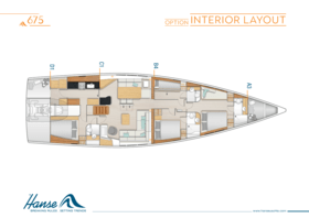 Hanse 675 Interior Layout | A3 / B4 / C1 / D1 - Option | Hanse