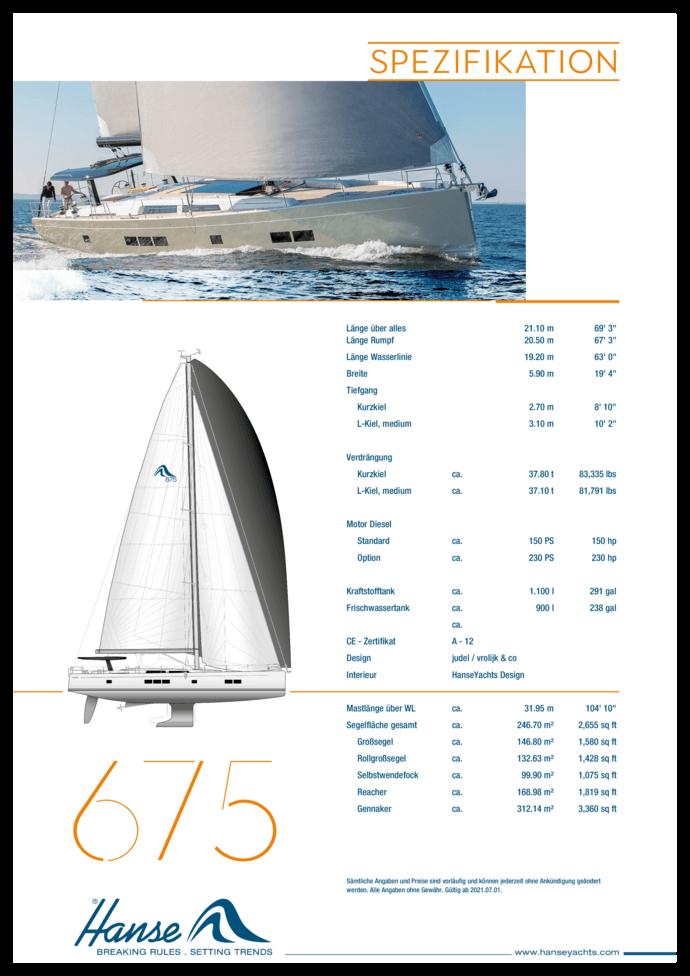 Hanse 675 Standard Spezifikation