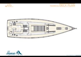 Hanse 675 Decksplan | Technischer Decksplan | Hanse