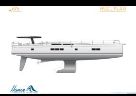 Hanse 675 Hull Plan Coloured | konventioneller Rumpfplan | Hanse