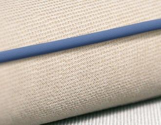 cream / blue piping