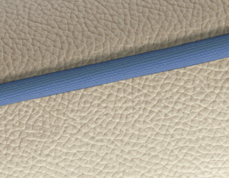 ivory / blue piping