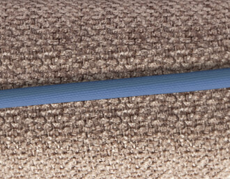 taupe / blue piping