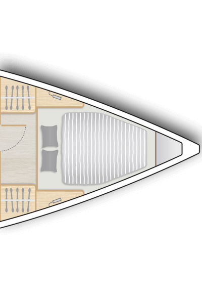 A1: Master cabin with double V-berth and storage space