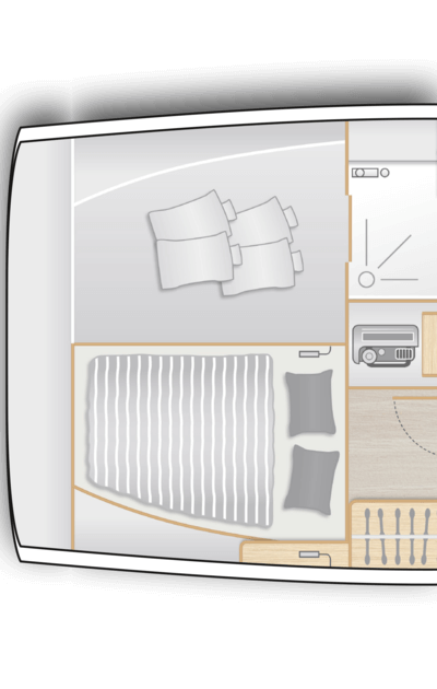 C1: Aft cabin with double berth and storage space on stb, utility room on port - separate head with shower stall on port