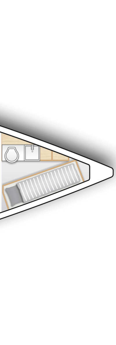 A2: Crew cabin with sink, toilet and storage space (only with XL2001)