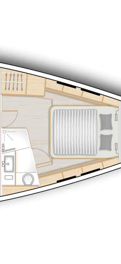 B1: Master cabin with island double berth, storage space and a head with separate shower stall