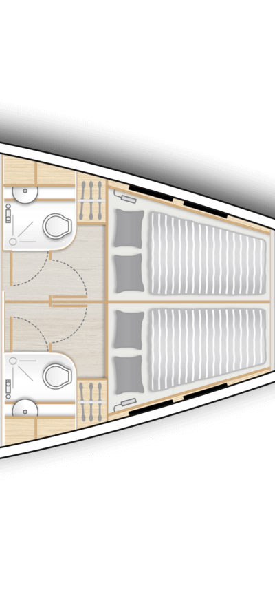 B2: 2 fwd cabins with double berth, storage space and separate head with shower