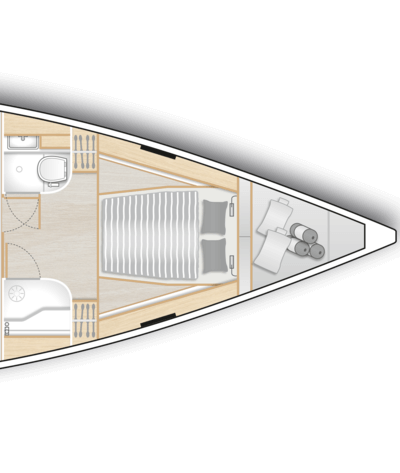 A1: Master cabin with island double berth, storage space and a head with separate shower stall