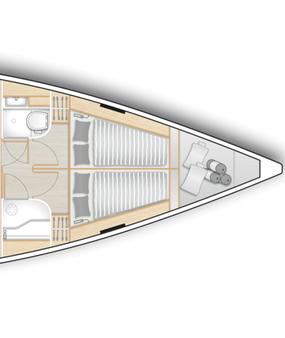 A2: 2 fwd cabins with double berth, storage space, head on port and shower stall on stb