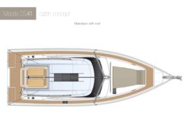 Moody Decksaloon 41 Disposition | concept de cabine pont principal avec toit | Moody