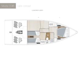 Moody Decksaloon 41 Disposition | cabine du pont inférieur A1-B2 Option | Moody