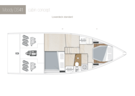 Moody Decksaloon 41 Disposition | cabine du pont inférieur A1-B1 Standard | Moody