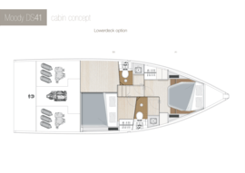 Moody Decksaloon 41 Disposition | cabine du pont inférieur A1-B3 Option | Moody