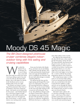 Moody Decksaloon 45: Test Review - Blue Water Sailing 06/2012 | Moody DS45 Magic - The Bill Dixon-designed pilothouse cruiser combines elegant indoor-outdoor living with fine sailing and cruising capabilities | Moody
