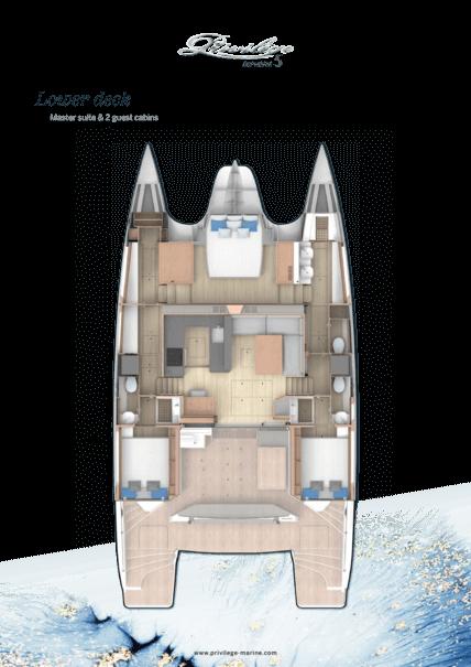 Privilège Euphorie 5 | Lower deck - Master suite & 2 guest cabins | Privilège
