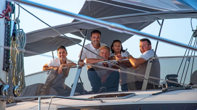 Privilège luxury yacht team on board a catamaran