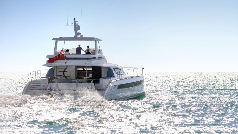 New luxury motor catamaran on the open water offshore