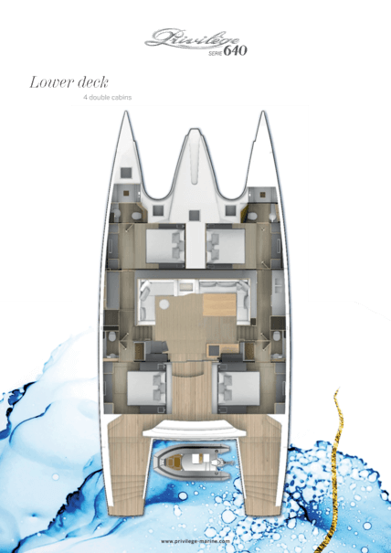 Privilège Serie 640 | Lower deck - 4 double cabins | Privilège