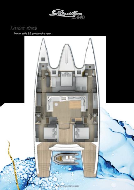 Privilège Serie 640 | Lower deck - Master suite & 3 guest cabins . option | Privilège