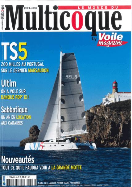 Le Monde du Multicoque N°6 2018 | 船体--仍然由Marc Lombard设计--是新的。更长、更高、更薄、更直的船头,它们不可否认地给人以原始动力的印象,远胜于615型。由Lorima设计的碳纤维桅杆长1.30米,为主帆和热那亚提供了13和2平方米的额外帆面积。所有这些都是为了使排水量从26,500公斤增加到28,300公斤。帆/重量比,现在是8.09平方米/吨,几乎没有变化--615的帆/重量比是8.07平方米/吨。 | Privilège