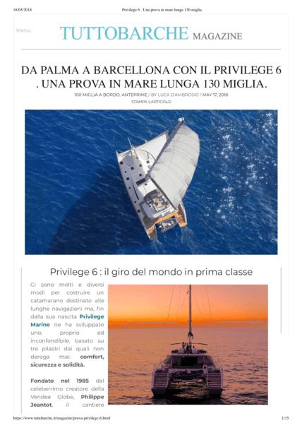TUTTOBARCHE 2018年5月 | 从帕尔马到巴塞罗那的Privilege Series 6,海试长达130英里。 | Privilège