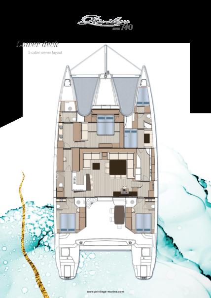 Privilège Serie 740 | Lower deck - 5 cabin owner layout | Privilège