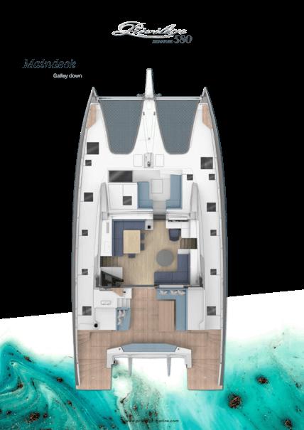 Privilège Signature 580 | Main deck layout - Galley down | Privilège