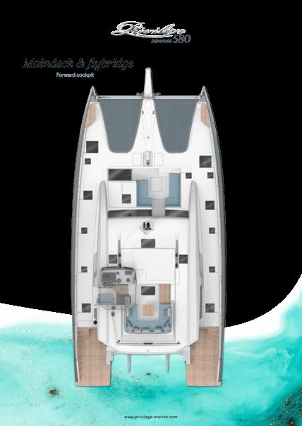 Privilège Signature 580 | Main deck layout - Flybridge with forward cockpit | Privilège