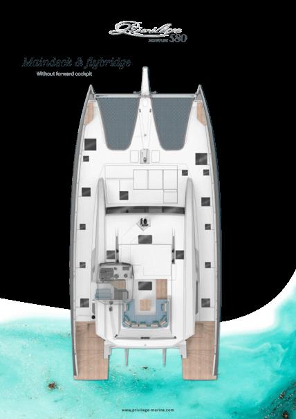 Privilège Signature 580 | Main deck layout - Flybridge without forward cockpit | Privilège