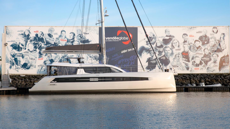 Privilège Signature 580 luxury yacht at dock for Vendée Globe