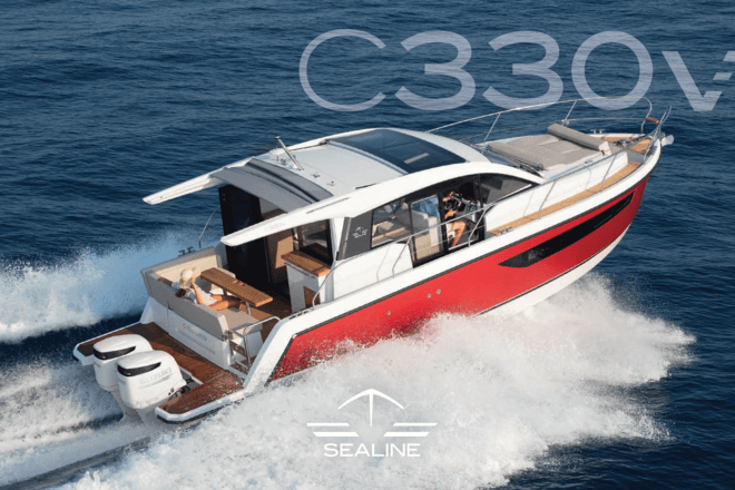 Sealine C330v brochure   The new Sealine C330v combines the intelligent all-weather design of the Sealine Cruiser series with the agility of two outboards. Rediscover the feeling of spontaneity and independence on this yacht! Escape the everyday to any point of the compass: The C330v was created to cruise the world's best waters – whether in the Tropics or high latitudes. A sporty performance, spacious cabins and a well-sheltered living space on deck make the C330v a perfect hideaway throughout the entire year.   Sealine