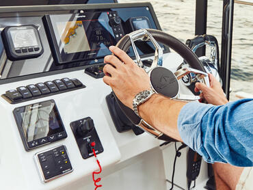 Sealine C330v helm   One of Sealine's trademark is to arrange the instruments in a way that brings ergonomics and style into perfect balance.   Sealine