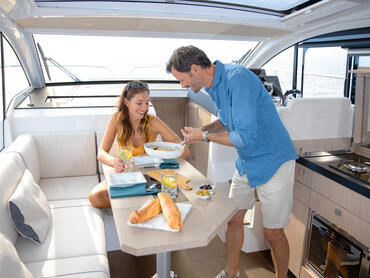Sealine C330v saloon   The galley is a central part of the saloon, making the preparation of meals a very communicative affair.   Sealine
